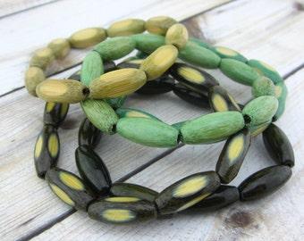 Bohemian Bracelet Set, Stretch Bracelets, Elastic, Natural, Wooden, Wood, Earthy, Hippie, Boho Jewelry, Green, Colorful Bamboo Green Olive