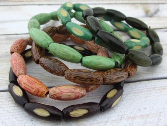 Rainforest Bangle Bracelet set, Bohemian Boho, Bamboo, stack bracelets