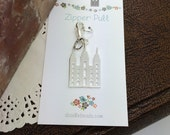 Silver Temple Charm Zipper Pull  Salt Lake Temple Charm - dangle off scripture bags, purses, key chain - LDS Temple