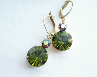 Olive Green Earrings Rhinestone Earrings Drop Earrings Costume Jewelry Rhinestone Jewelry Vintage Earrings Aurora Borealis