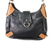 Vintage Bag Black and Brown Satchel Cowhide Leather Shoulder Tote