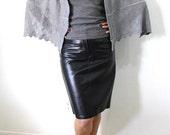 Black Leather Mini Skirt Pencil Skirt Vintage 80s Emphasis Bullocks Size S