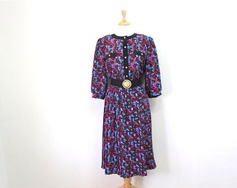 80s dress Breli Originals  Pleated Day Exotic Floral Party Dress Size 12