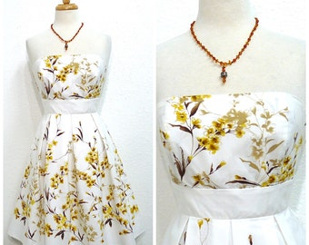 1980s Cotton dress, Floral dress, Strapless dress, Vintage 50s inspired dress