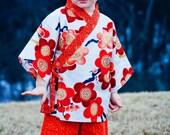 Kids Kimono Jinbei - AUTUMN SAKURA - 0 up to 10 years - Japanese pajamas loungewear girls kimono outfit girls pajamas