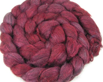 Spinning Fiber - Alpaca & Silk Combed Top / Roving - Black Cherry