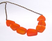 Orange Sea Glass Necklace Clearance Sale.