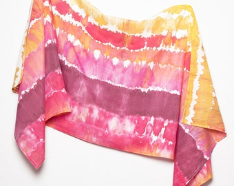 Unique Hand Painted Silk Cotton Summer Sarong Pink Purple Orange Yellow Colors Scarf Wrap Colorful Beach Holidays