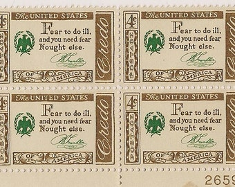 Benjamin Franklin US stamps plate block Famous American series famous quotes 4 cent stamps uncanceled unused United States postage stamps