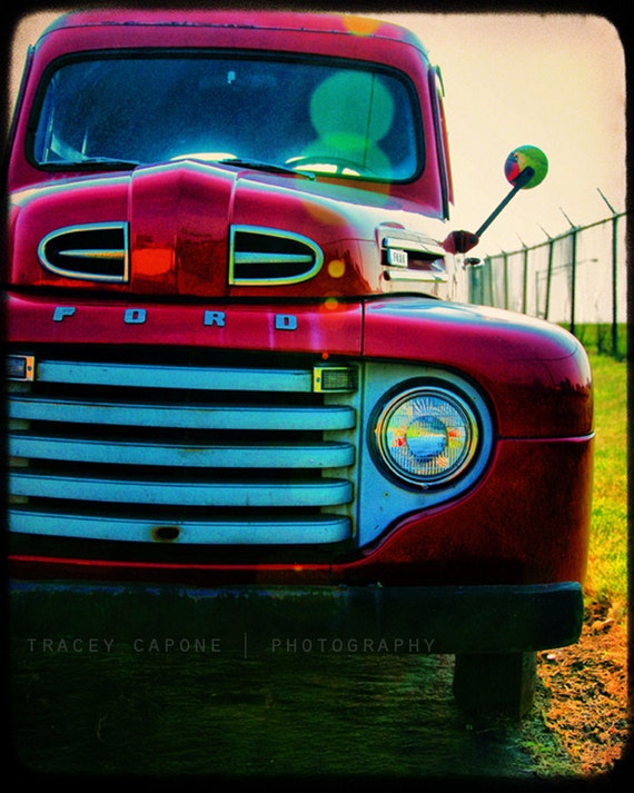 Red Ford Truck, 1950 vintage, color art for wall, retro home decor, crimson, teal blue, bright green, picture for playroom, boys room print