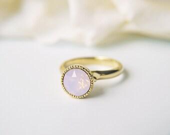 Pink Opalescent Swarovski Gold Ring Rosewater Opal Crystal Adjustable Ring