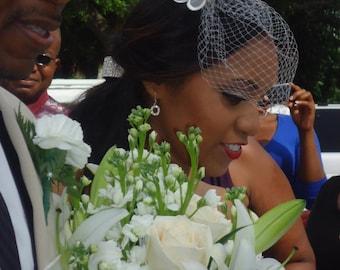 Shayna's  organza flower birdcage veil