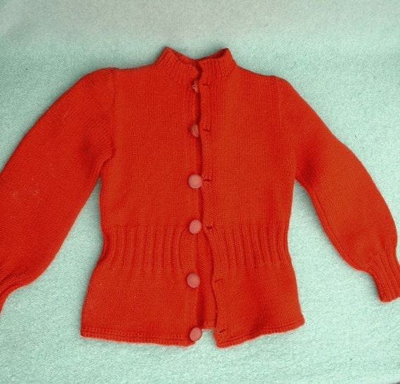 Vintage Red Hand Knit Child's Cardigan Sweater Free Ship