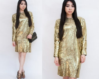 Glittering Goddess Golden Sequin Mod Mini Long Sleeve Metallic Dress XS S