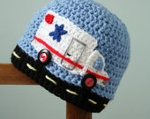 Ambulance Hat, Rescue Truck Hat,  Paramedic Hat, Crochet Beanie, Boys, Girls, Men, Women, Holiday Gift, Baby Shower Gift, Truck Hat, Winter