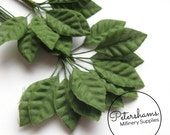 24 Mini Green Wired Rose Leaves for Tiara Making, Hat Trimming & Millinery