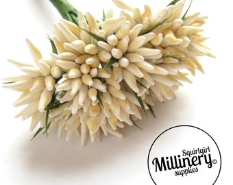 Ivory Spikey Bud Flower Picks / Stamens for Millinery & Flower Making Bunch of 12