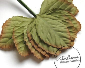12 Small Vintage Style Rose Leaves for Tiara Making, Hat Trimming & Millinery