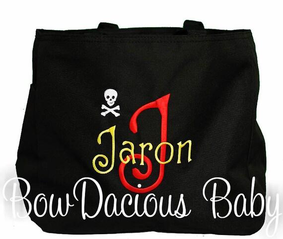 Swim Lesson Bag: Pirate Beach Bag, Personalized Swim Tote Bag, Girls Or