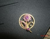 Beautiful Faux Amethysts in Goldtone Floral Pattern Brooch