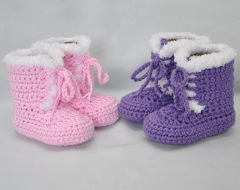 Cotton Baby Booties, Fur trimmed Baby Booties, Lace up Baby Booties