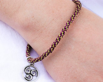 Royal Purple and Gold Kumihimo Bracelet with Celtic Knot Charm