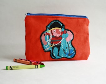 SALE****Pirate Canvas zipper Pouch-Crayon Case-Pirate pencil case