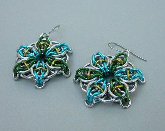 Chainmaille earrings--Celtic vision star in turquoise, green, and yellow anodized aluminum