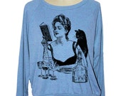 Womens CAT sweatshirt witch Magic potion raglan pullover American Apparel 3 COLORS (sm med lg ) skip n whistle