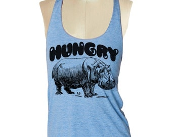 HUNGRY HIPPO Tank Top shirt - American Apparel Tri-Blend Tank workout - 8 color options Available in sizes S, M, L skip n whistle