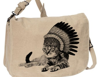 Cat Indian -- Canvas messenger bag -- large field bag -- adjustable strap skip n whistle