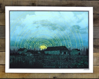Screen Printed Poster of Maine Farm