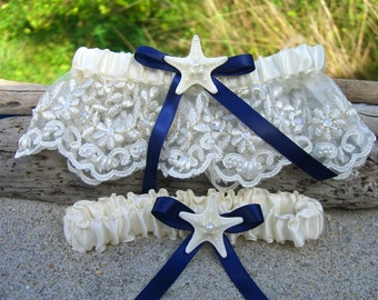 Starfish Beach Wedding Bridal Garter Set,Something Blue Garters,Destination Weddings,Mermaid Accessories,Bridal Garter Set,Ivory Garters