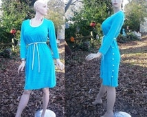 35% OFF 70s Dress/ Vintage Dress/  Terrycloth Dress/ Vintage Swim Cover in Turquoise and White by River Togs Size 8-10