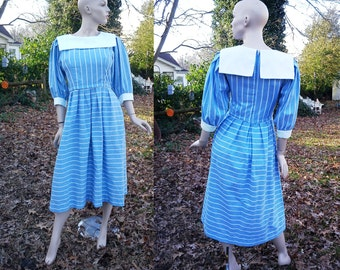 Sale 30% OFF 80s Dress by Lanz, Chambray Blue Dress, Vintage Dress, Lanz Dress in Chambray Blue and White Vertical Stripes with Bib Size 8