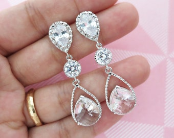 Macaria - Silver Teardrop Crystal Earrings, Bridesmaid Earrings, Bridal Wedding Jewelry, Cubic Zirconia, Glass