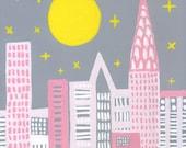Starry Manhattan Skyline -NYC Kids Print -Manhattan Kids Decor -Girls Room Decor -Nursery Decor -NYC Baby - Baby Shower Gift -Nursery Gift