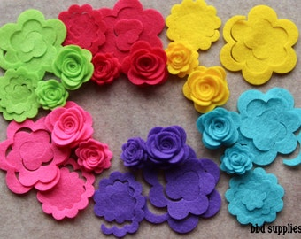 Summer of Love - 3D Rolled Roses Small & Medium - 24 Die Cut Felt Flowers - Unassembled Rosettes