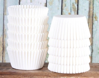 Midi White Cupcake Liners, Two Bite Cupcake Liners, White Cupcake Wrappers, Small Baking Cups, Small Candy Cups, Small Cupcake Cases (100)