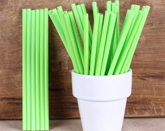 "Bulk Lime Green Lollipop Sticks, Small Lime Green Cake Pop Sticks, Plastic Lollipop Sticks, Pop Sticks, St. Patrick's Day (4.5""-100)"