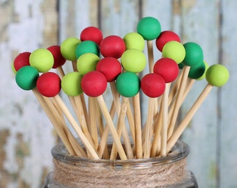 Merry Christmas Lollipop Sticks, Cake Pops Sticks, Marshmallow Pop Sticks, Painted Rock Candy Sticks, Wooden Sticks, Christmas Pops (12)