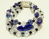 3 Strand Clear Crystal with Cobalt Blue Beaded Bracelet, Multistrand Crystal & Ultramarine Beaded Bracelet, Multistrand Beaded Bracelet