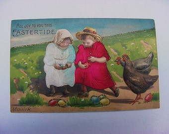 Antique Novelty Postcard Mailick Signed Colorful Easter Children Applied Silk Clothing Glitter Eggs Chicken Holiday