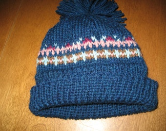 Child Hat, Fair Isle Hat, Toddler Winter Hat, Child Wool Hat, Blue Winter Hat, Brown Child Winter Hat, Free Shipping With Another Item