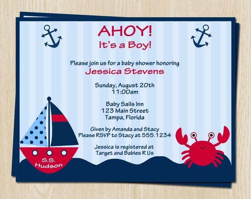 nautical baby shower invitations boys boat by theinviteladyshop