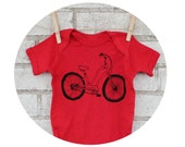 Beach Cruiser Bicycle Baby One Piece, Red...