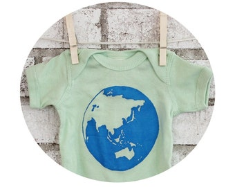 Baby Clothing, World Onepiece, Mother Earth, Globe Infant Creeper, Green Sustainable, One Piece, Cotton Snapsuit, Travel Shower Gift