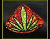 Quarter Round Orange with Green Pot Leaf Zipper Pouch