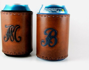 Monogrammed Leather Can Holder Personalized Custom Made to Order Can  Cooler Hand Tooled Leather Can Chiller Insulated Beverage Holder