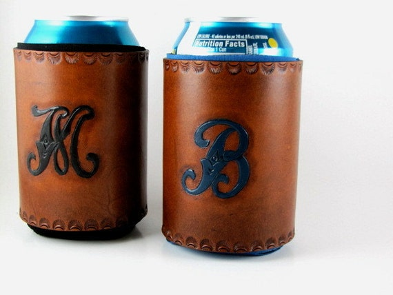 Monogrammed Leather Koozie Personalized Custom Made to Order